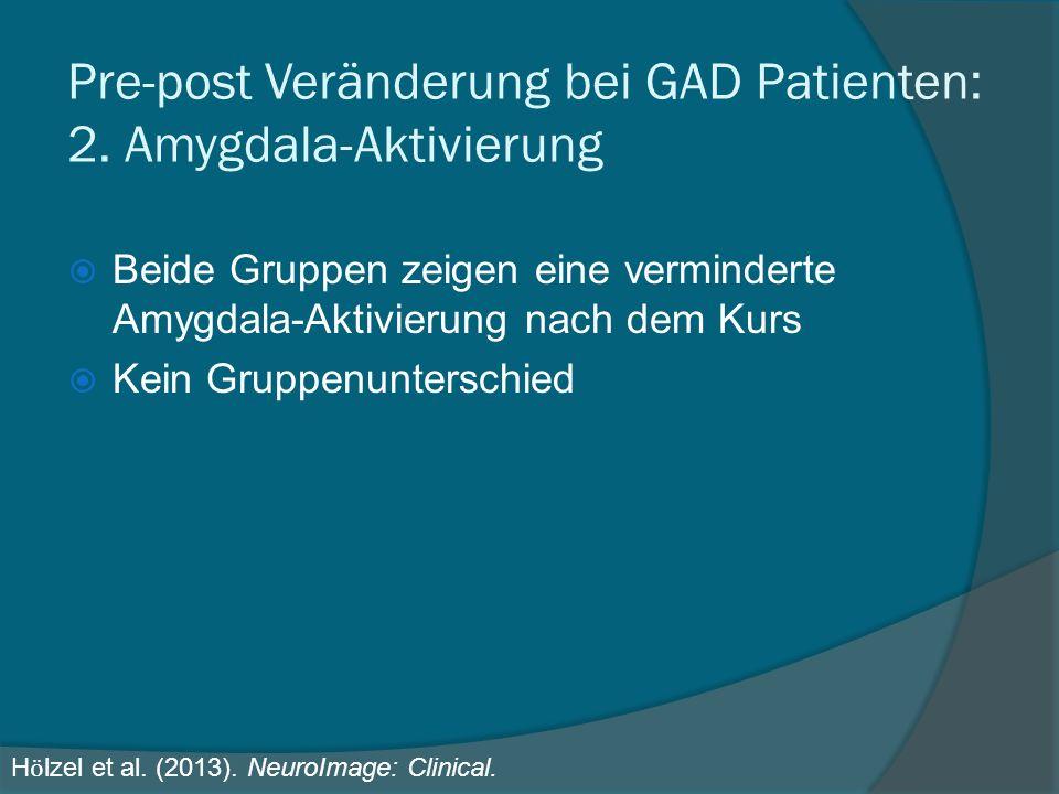 Pre-post Veränderung bei GAD Patienten: 2. Amygdala-Aktivierung