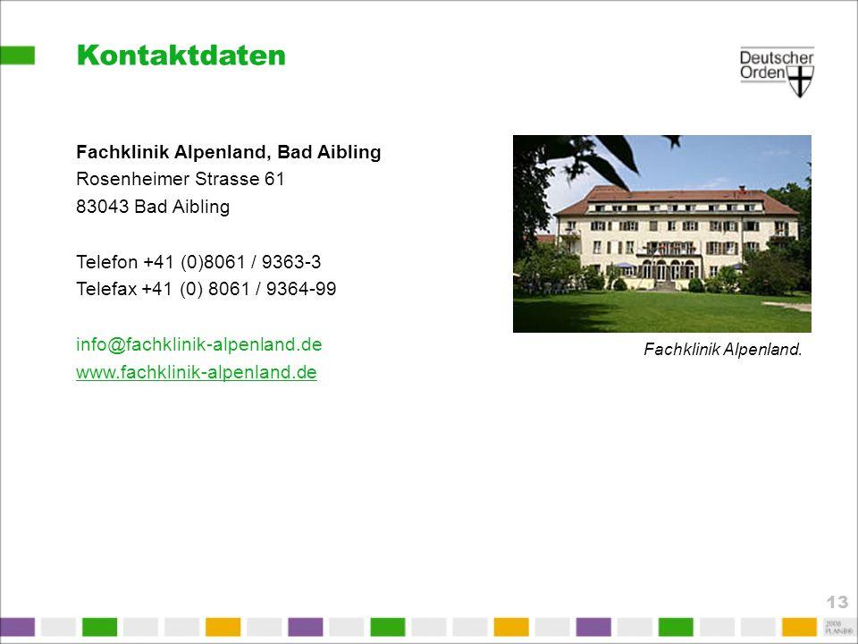 Kontaktdaten Fachklinik Alpenland, Bad Aibling Rosenheimer Strasse 61