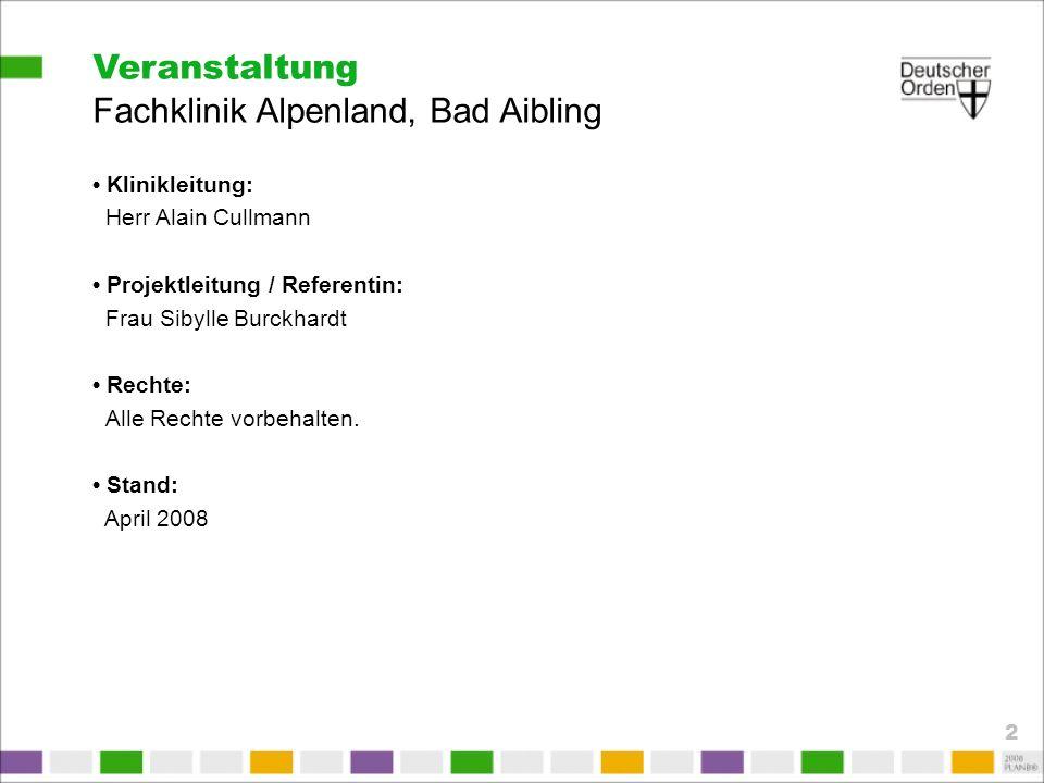 Veranstaltung Fachklinik Alpenland, Bad Aibling