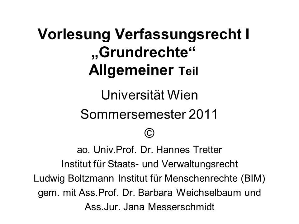 """Vorlesung Verfassungsrecht I """"Grundrechte Allgemeiner Teil"""