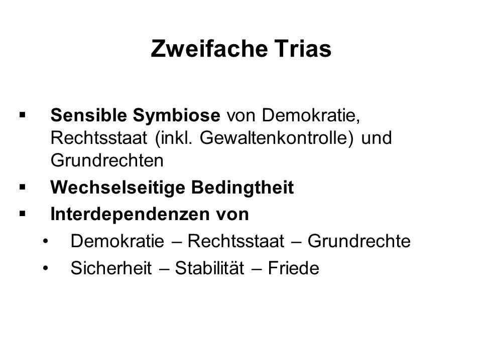 Zweifache TriasSensible Symbiose von Demokratie, Rechtsstaat (inkl. Gewaltenkontrolle) und Grundrechten.