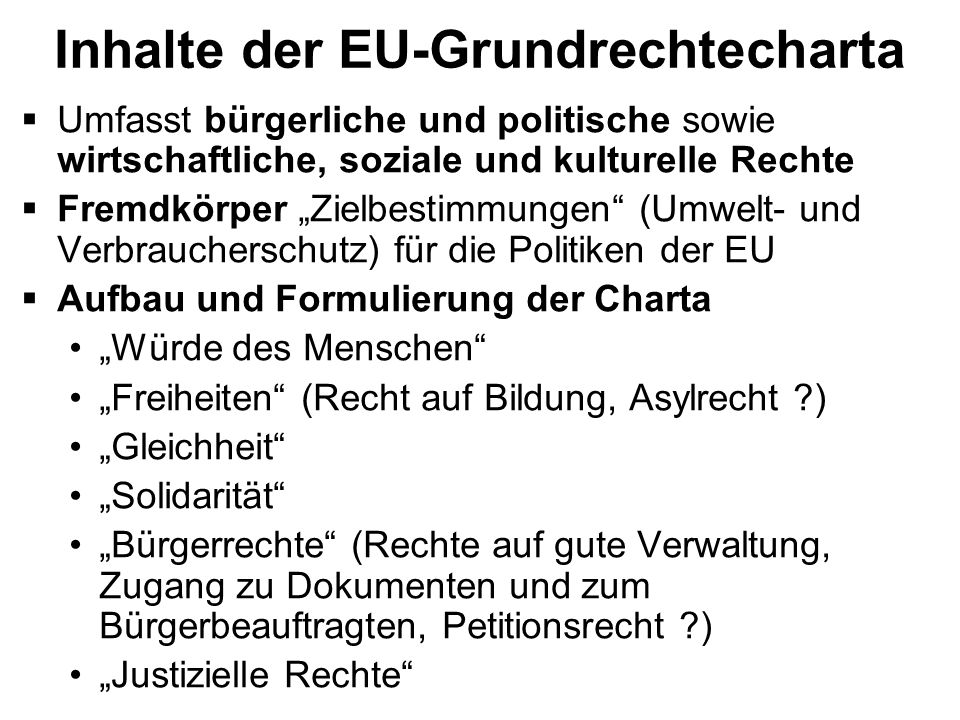 Inhalte der EU-Grundrechtecharta