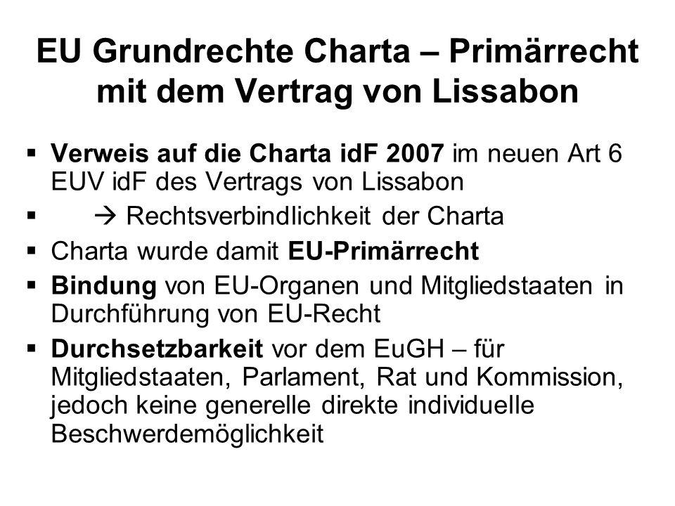 EU Grundrechte Charta – Primärrecht mit dem Vertrag von Lissabon