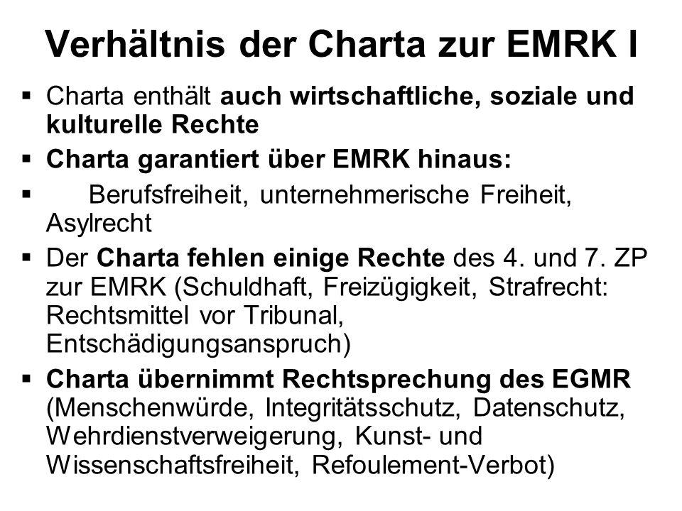 Verhältnis der Charta zur EMRK I
