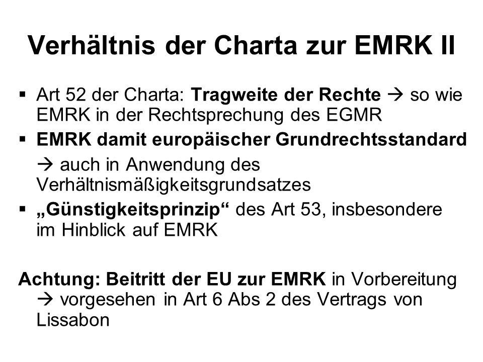 Verhältnis der Charta zur EMRK II
