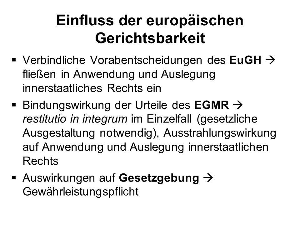 Einfluss der europäischen Gerichtsbarkeit