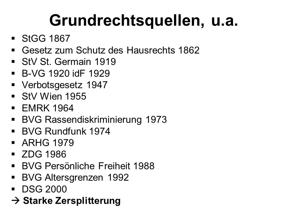 Grundrechtsquellen, u.a.