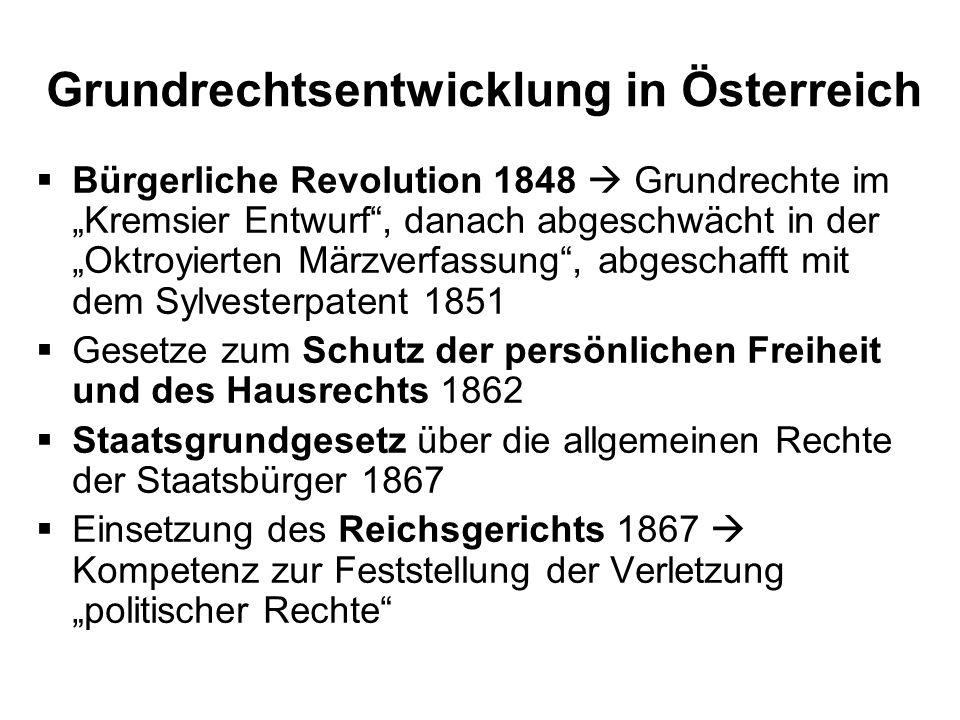 Grundrechtsentwicklung in Österreich
