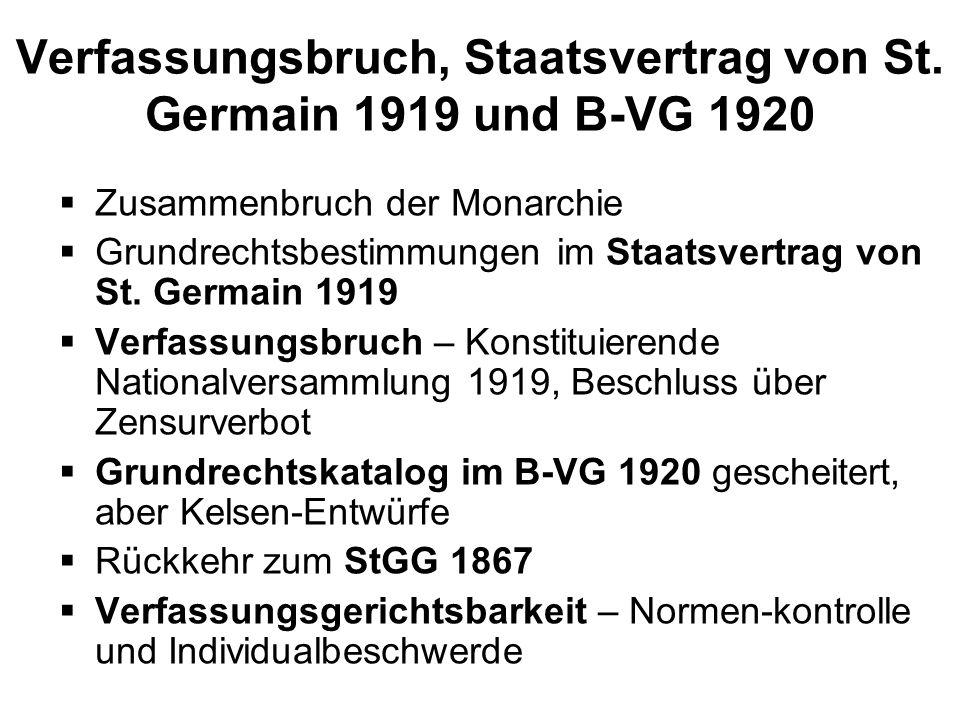 Verfassungsbruch, Staatsvertrag von St. Germain 1919 und B-VG 1920