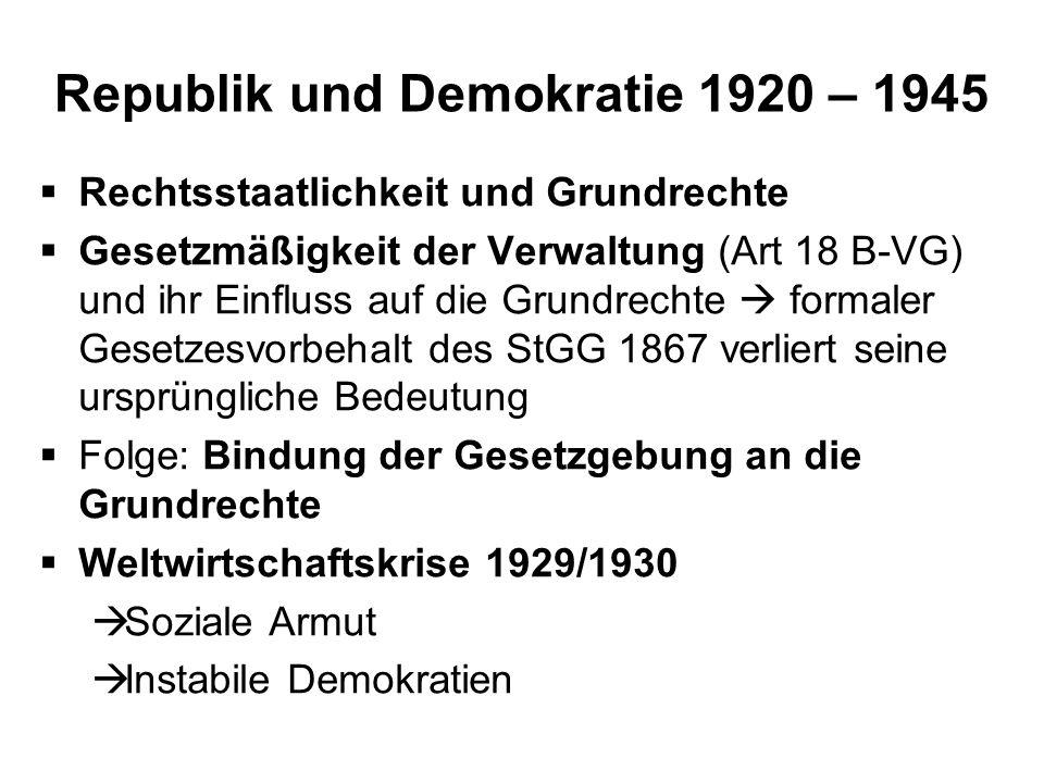 Republik und Demokratie 1920 – 1945