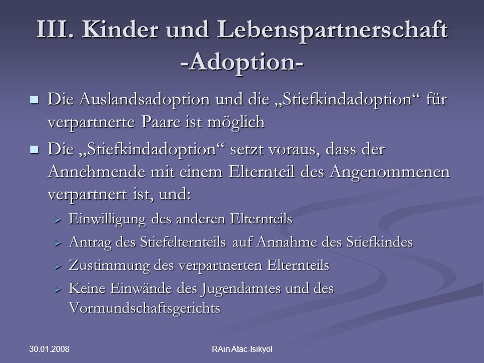 III. Kinder und Lebenspartnerschaft -Adoption-