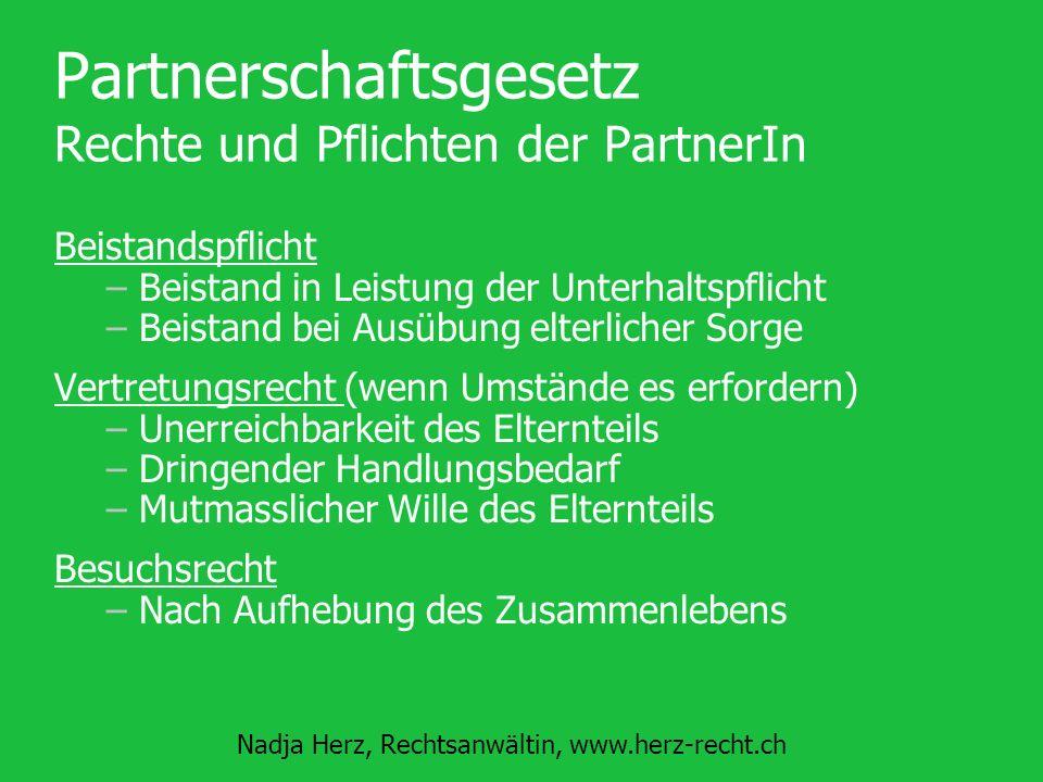 Partnerschaftsgesetz Rechte und Pflichten der PartnerIn