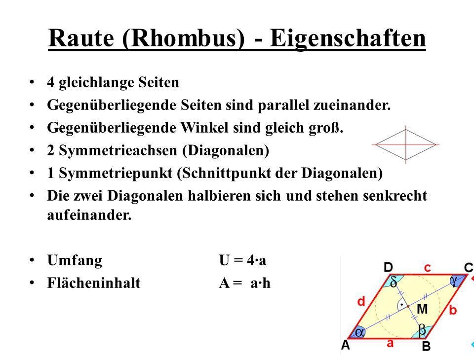 Raute (Rhombus) - Eigenschaften
