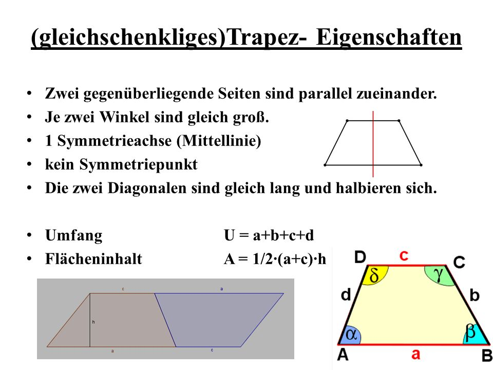 (gleichschenkliges)Trapez- Eigenschaften