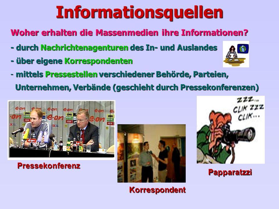 Informationsquellen Woher erhalten die Massenmedien ihre Informationen - durch Nachrichtenagenturen des In- und Auslandes.