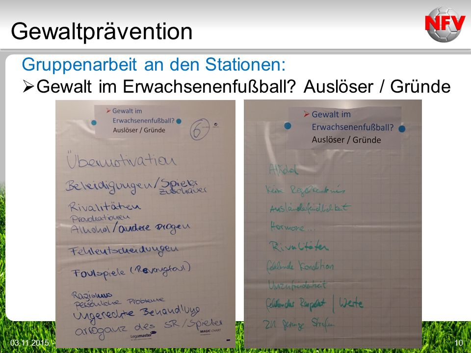 Gewaltprävention Gruppenarbeit an den Stationen: