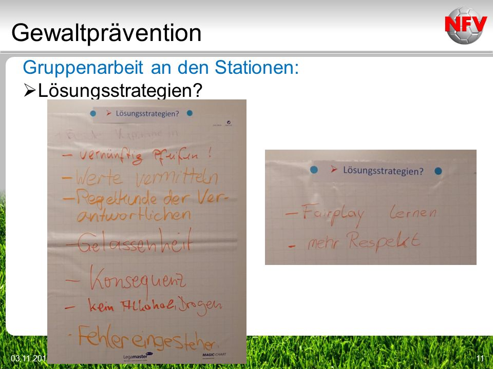 Gewaltprävention Gruppenarbeit an den Stationen: Lösungsstrategien