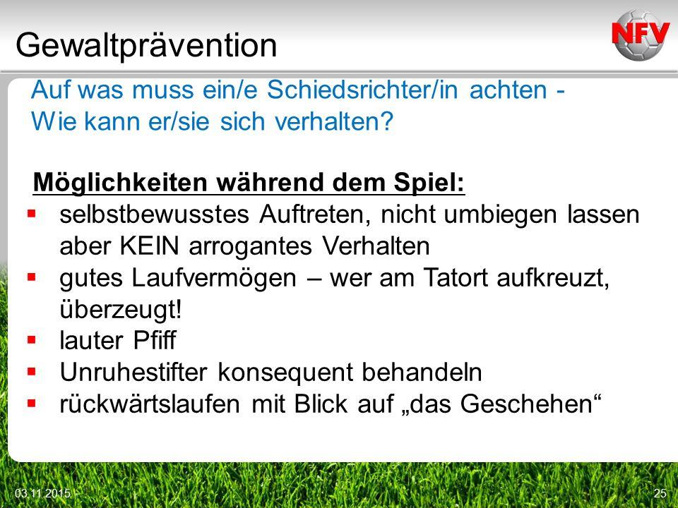 Gewaltprävention Auf was muss ein/e Schiedsrichter/in achten -