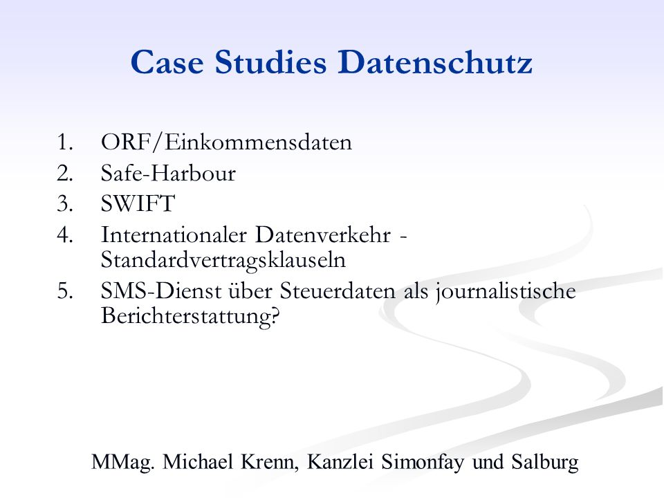 Case Studies Datenschutz