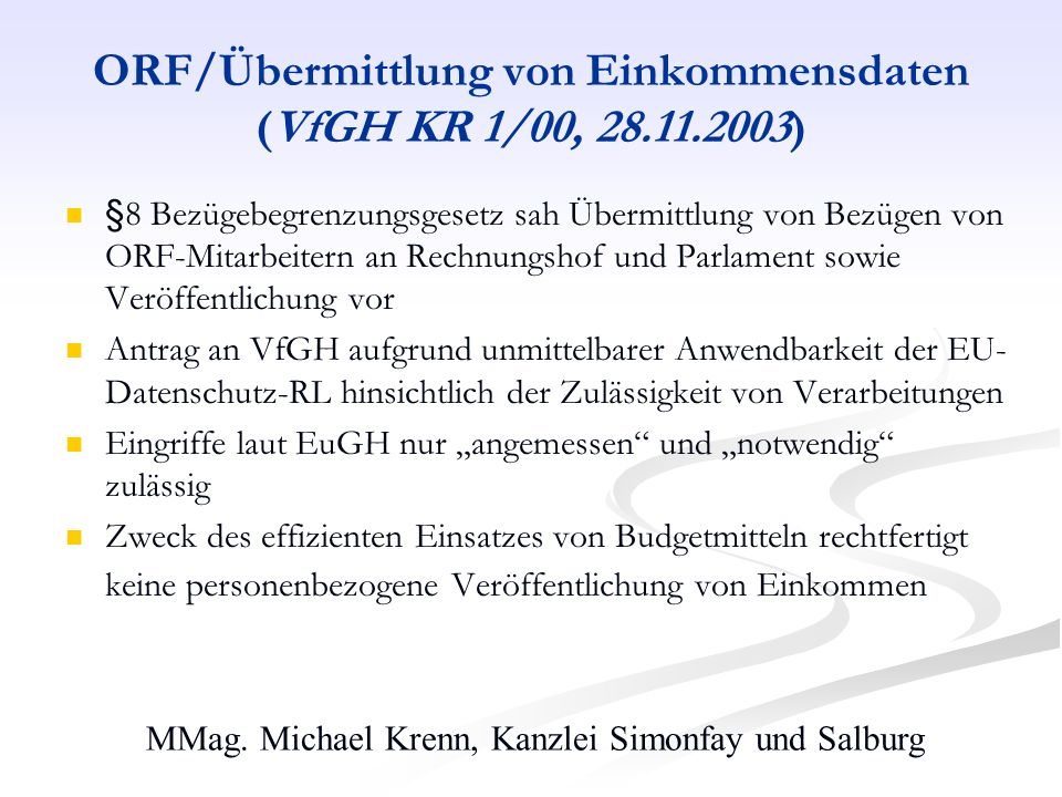 ORF/Übermittlung von Einkommensdaten (VfGH KR 1/00, 28.11.2003)