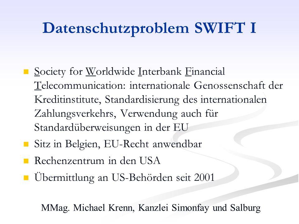 Datenschutzproblem SWIFT I