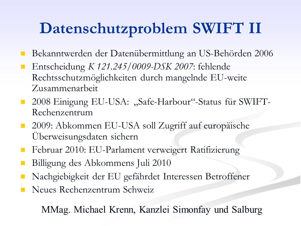 Datenschutzproblem SWIFT II