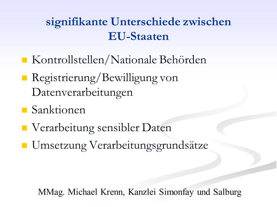 signifikante Unterschiede zwischen EU-Staaten