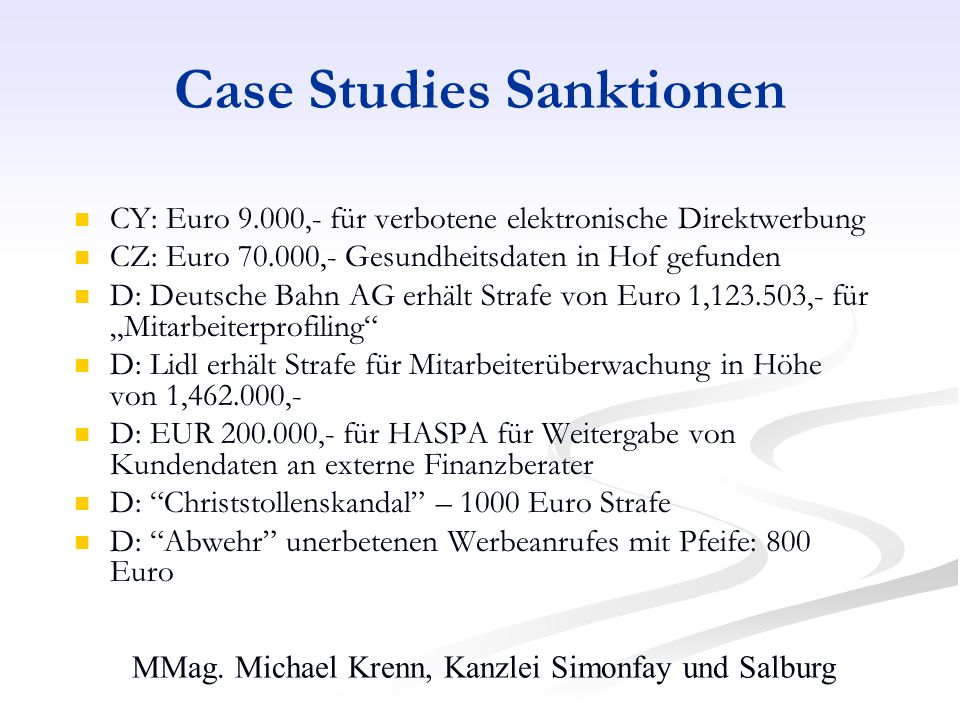 Case Studies Sanktionen