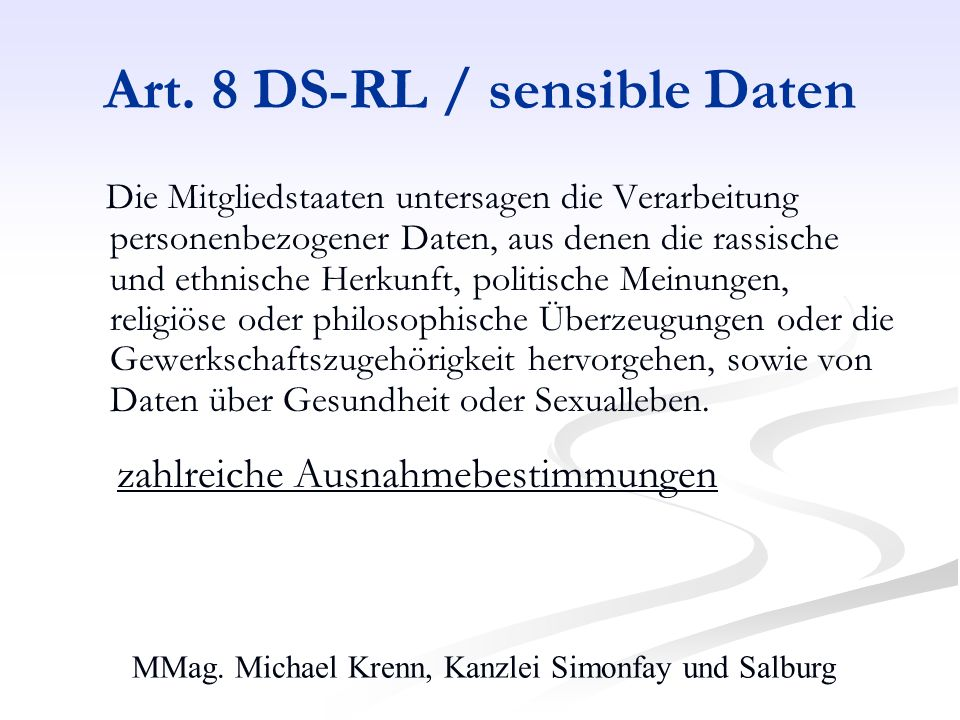 Art. 8 DS-RL / sensible Daten