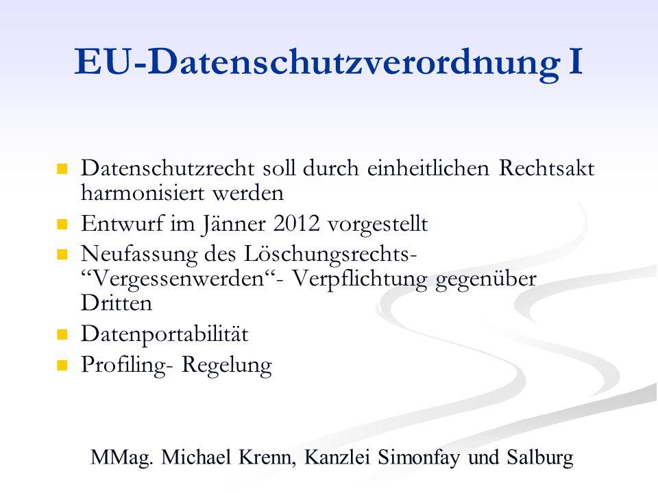 EU-Datenschutzverordnung I