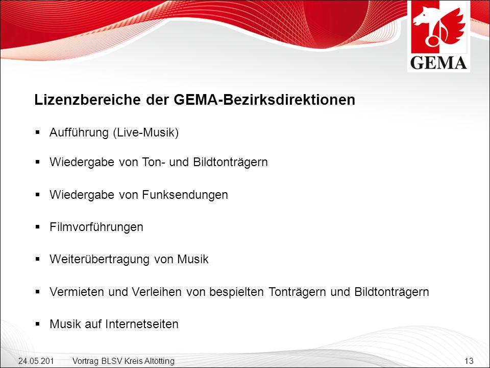 Lizenzbereiche der GEMA-Bezirksdirektionen