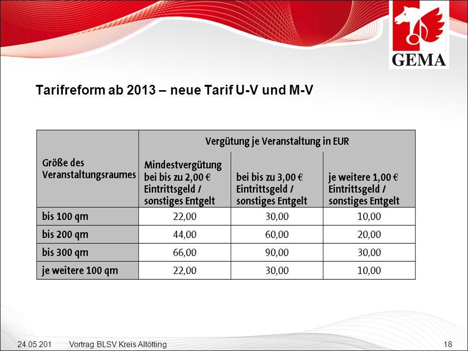 Tarifreform ab 2013 – neue Tarif U-V und M-V