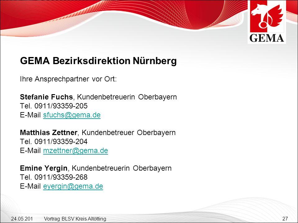 GEMA Bezirksdirektion Nürnberg Ihre Ansprechpartner vor Ort: Stefanie Fuchs, Kundenbetreuerin Oberbayern Tel.