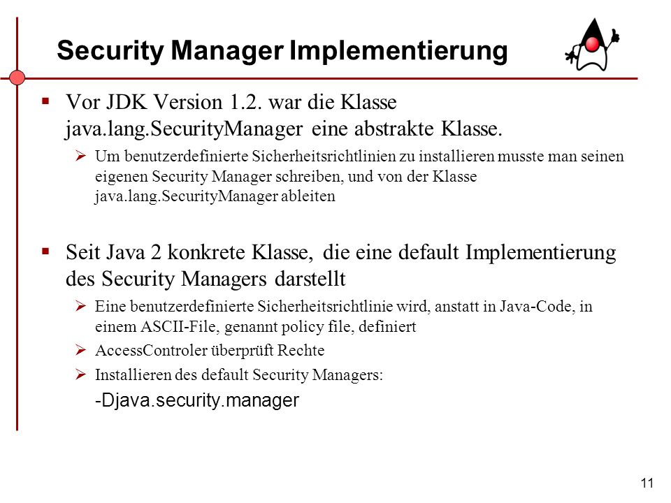 Security Manager Implementierung