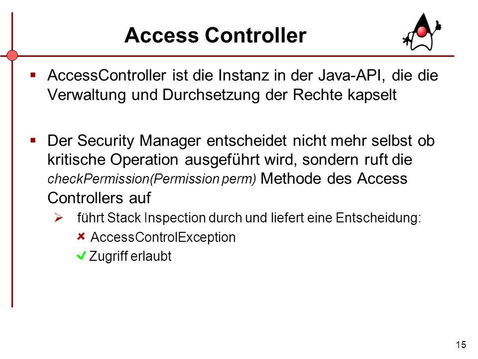 Access Controller AccessController ist die Instanz in der Java-API, die die Verwaltung und Durchsetzung der Rechte kapselt.