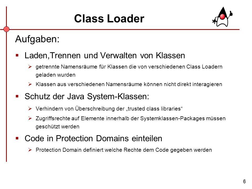 Class Loader Aufgaben: Laden,Trennen und Verwalten von Klassen