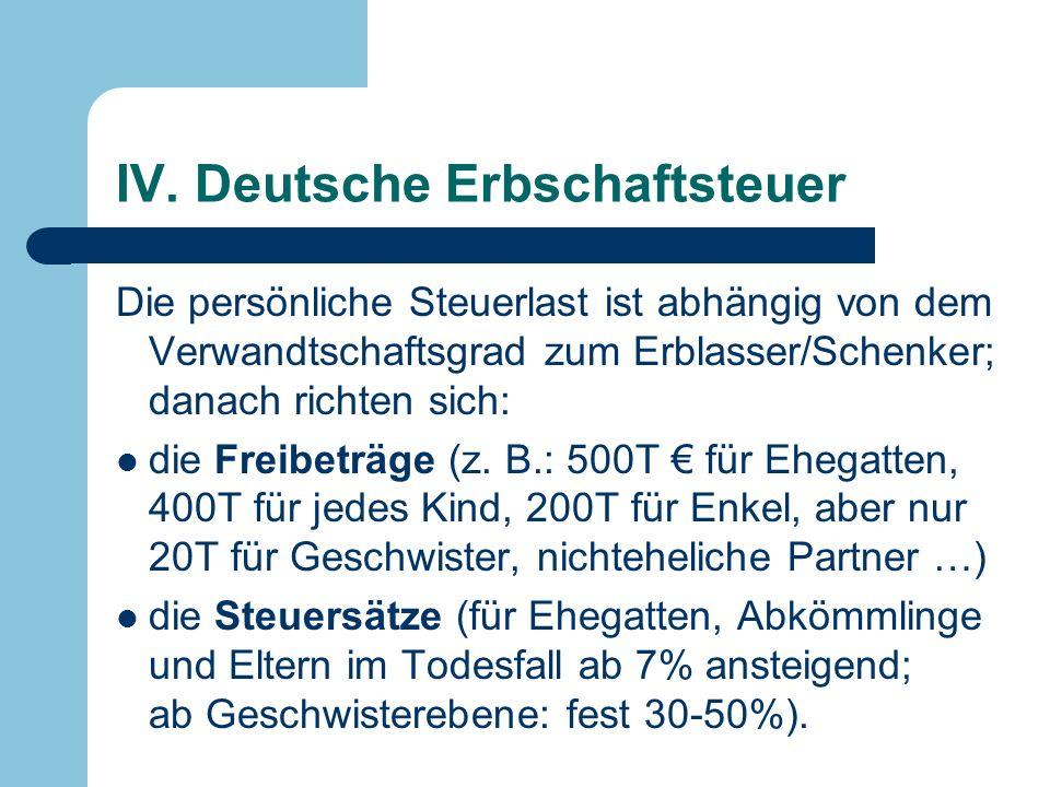 IV. Deutsche Erbschaftsteuer