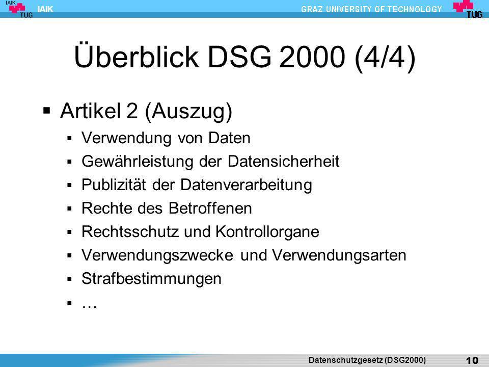 Überblick DSG 2000 (4/4) Artikel 2 (Auszug) Verwendung von Daten