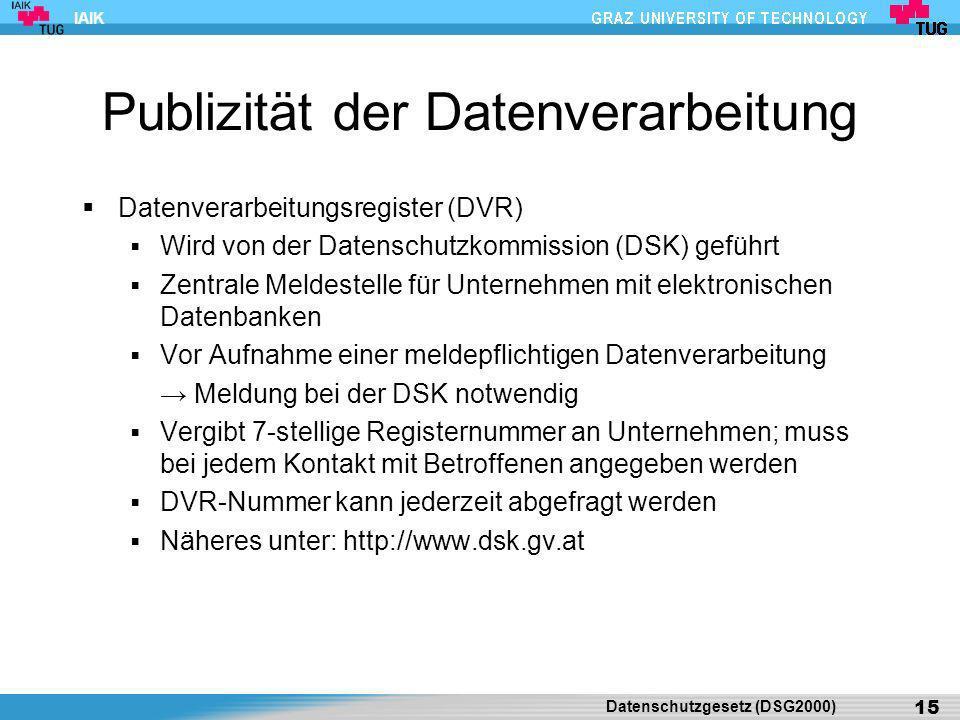Publizität der Datenverarbeitung