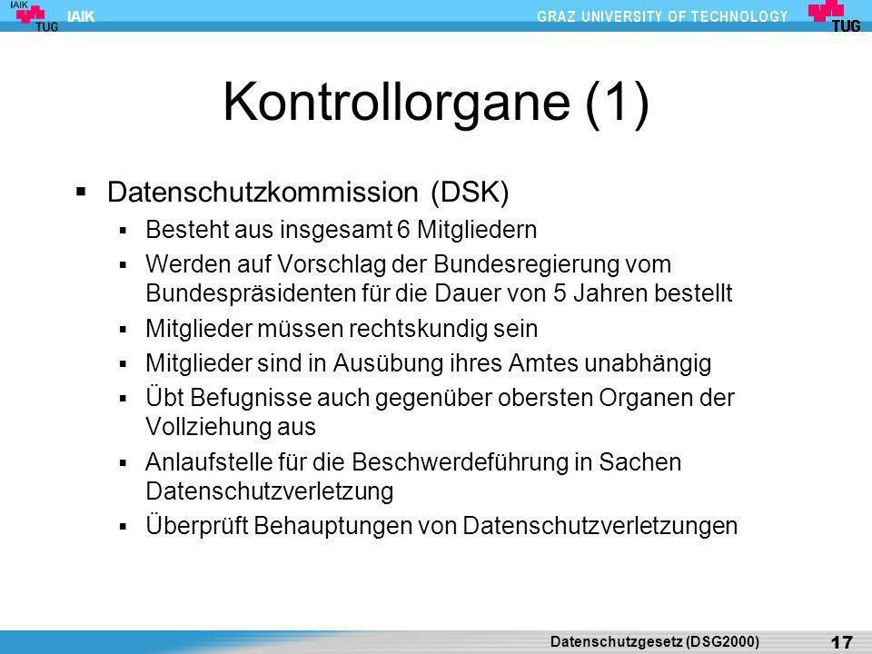 Kontrollorgane (1) Datenschutzkommission (DSK)