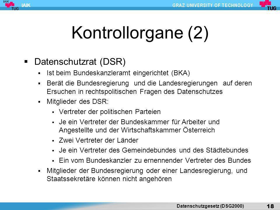 Kontrollorgane (2) Datenschutzrat (DSR)
