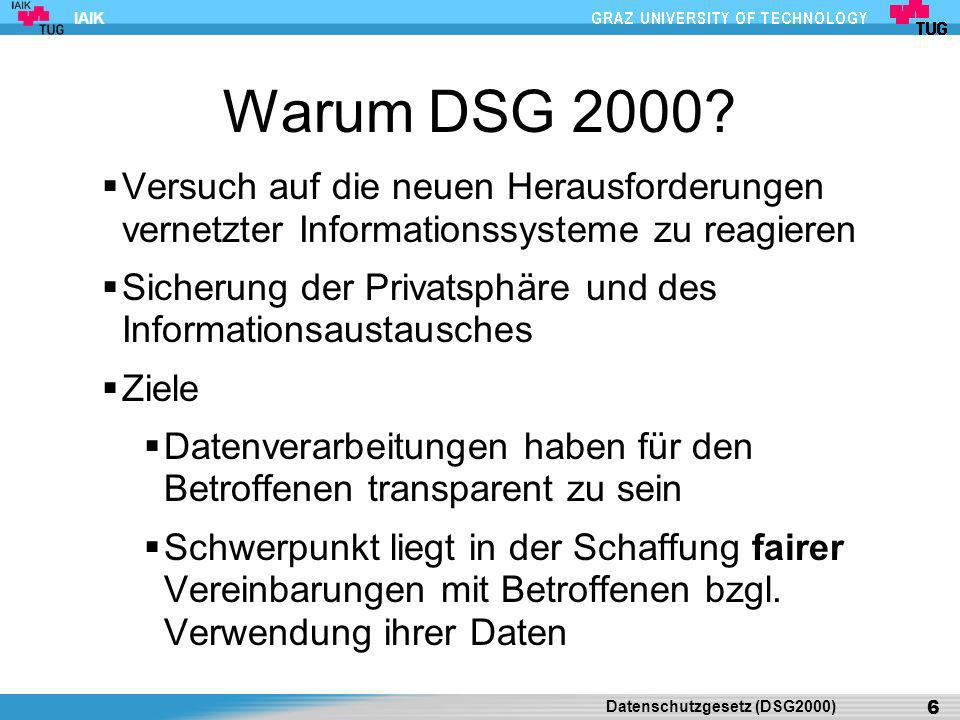 Warum DSG 2000 Versuch auf die neuen Herausforderungen vernetzter Informationssysteme zu reagieren.