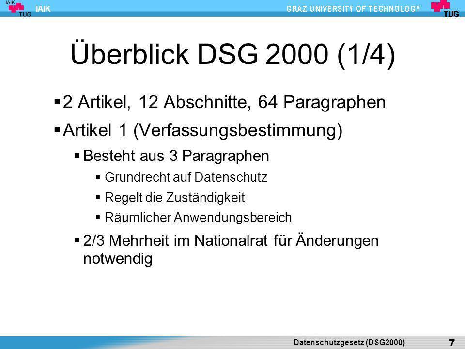 Überblick DSG 2000 (1/4) 2 Artikel, 12 Abschnitte, 64 Paragraphen