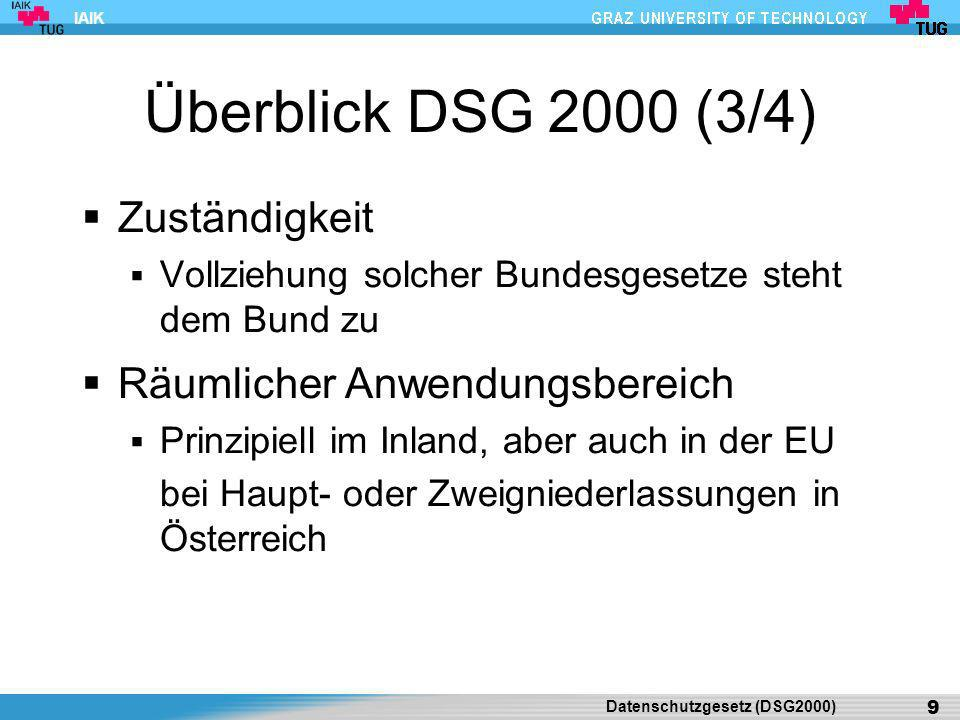 Überblick DSG 2000 (3/4) Zuständigkeit Räumlicher Anwendungsbereich