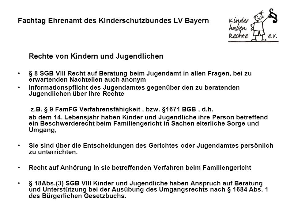 Fachtag Ehrenamt des Kinderschutzbundes LV Bayern