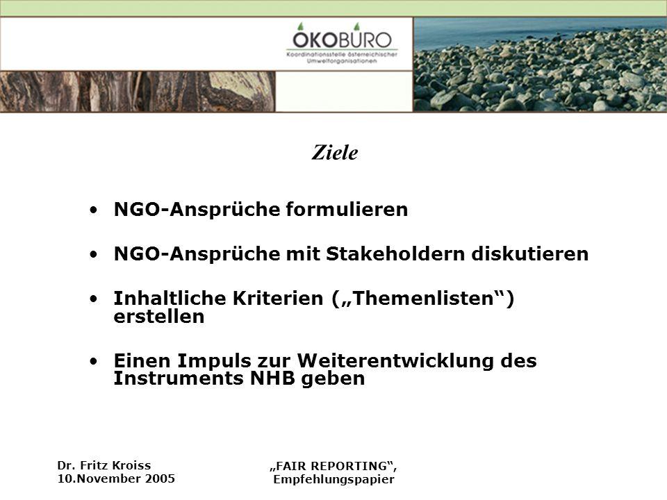 Ziele NGO-Ansprüche formulieren
