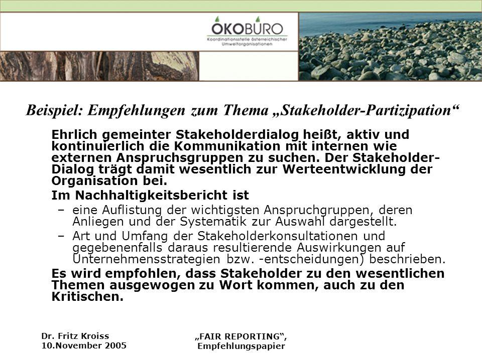 """Beispiel: Empfehlungen zum Thema """"Stakeholder-Partizipation"""