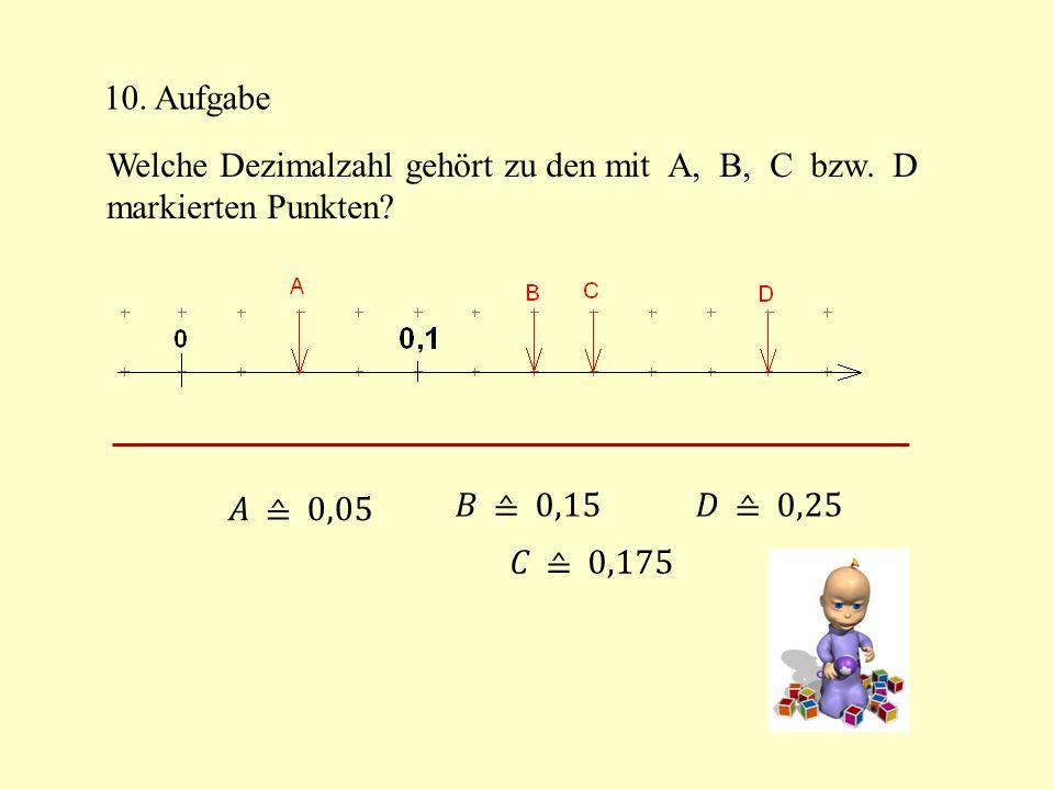 10. Aufgabe Welche Dezimalzahl gehört zu den mit A, B, C bzw. D. markierten Punkten 𝐴 ≙ 0,05.