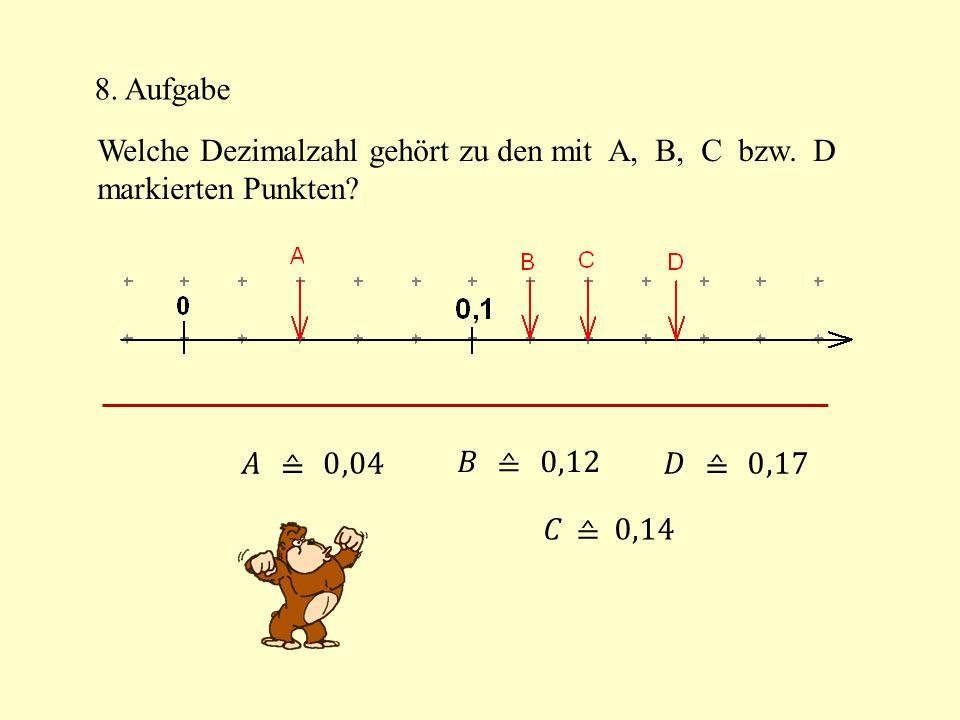 8. Aufgabe Welche Dezimalzahl gehört zu den mit A, B, C bzw. D. markierten Punkten 𝐴 ≙ 0,04.