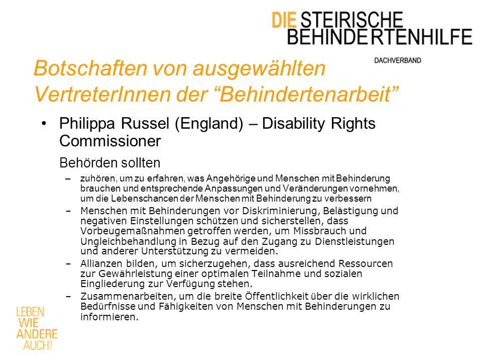 Botschaften von ausgewählten VertreterInnen der Behindertenarbeit